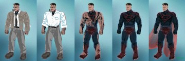 "My Superman Live Action Skin concept. (Left to right) Clark Kent in dull color tones not to draw attention; Clark sheds his ""human"" skin camo to reveal his real alien blue and red skin, has scar carved into chest from Krypton war training; Superman has dragonfly like wings"