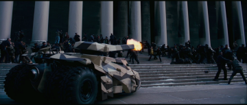 Dark Knight Rises Trailer Analysis: An unmodified tumbler blasts at City Hall
