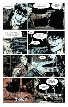 A page from James O'Barr The Crow colored and lettered by Saelee