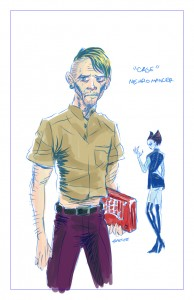 Neuromancer Case and Molly character designs